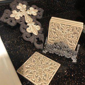 Ceramic Coasters and Cross